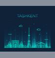 tashkent skyline uzbekistan a linear style vector image vector image