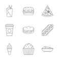 tasty fast food icon set outline style vector image vector image