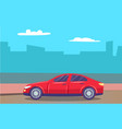 traveling car in modern city auto and skyline vector image vector image