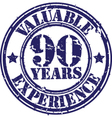 Valuable 90 years of experience rubber stamp vect vector image vector image