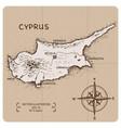 vintage map cyprus vector image vector image