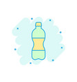 water bottle icon in comic style plastic soda vector image vector image