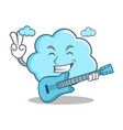 with guitar cute cloud character cartoon vector image vector image