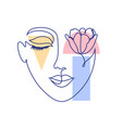 woman face and geometric shapes vector image vector image