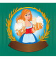 Woman with beer board vector image vector image