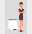 young pretty slim caucasian businesswoman stands vector image vector image