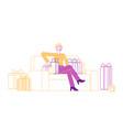 young woman customer shopaholic character sitting vector image