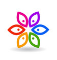 abstract colorful flowers icon vector image vector image