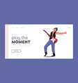 artist with amp performing concert landing page vector image
