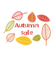 autumn sale background with colorful leaves vector image