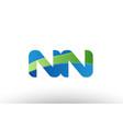 blue green nn n n alphabet letter logo vector image vector image