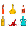 bottle icon set color outline style vector image vector image