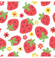 childish seamless pattern with cute strawberry vector image vector image