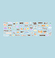 collection sticker words template flat vector image vector image