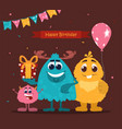 colorful birthday card template with cute smiling vector image
