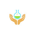 creative palm holding beaker science logo vector image