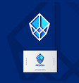 crystal logo faceted stone emblem vector image