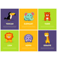 cute african animals banners set toucan elephant vector image vector image