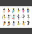 cute cartoon robots in various professions set of vector image vector image