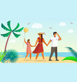 dad squinting from sun mother leads kid hand vector image