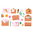 envelopes with postmarks letters and greeting vector image vector image