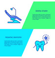 family dental clinic flyer templates in line style vector image