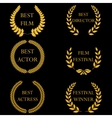 film awards golden round laurel wreaths vector image vector image