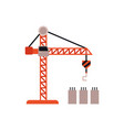 flat tower crane symbol isolated on white vector image