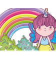 girl fantastic creature with horn and wings vector image vector image
