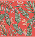 green palm leaves brown tropical flowers seamless vector image vector image