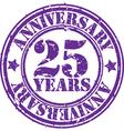 Grunge 25 years anniversary rubber stamp vector image