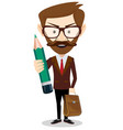 happy businessman holding a pencil vector image