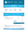 invoice template - blue striped version vector image vector image