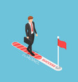 isometric businessman walking on progress loading vector image vector image