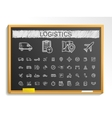 Logistic hand drawing line icons chalk sketch vector image vector image