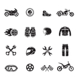 Motorcycle icons black set with transportation vector image vector image