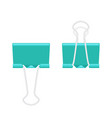 paper binder clip fastener folded and unfolded vector image