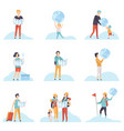 people with globes and maps set men women and vector image