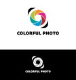 Photography logo with colorful leaves vector image