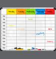 planner template on whiteboard vector image vector image
