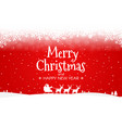 red christmas background silhouette of santa and vector image vector image