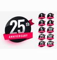 ribbon anniversary labels set design vector image vector image