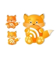 rss icon set as cute red fox toy vector image vector image