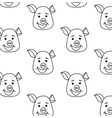 seamless pattern pig head with different emotions vector image vector image