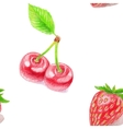 Seamless pattern with cherry and strawberry vector image