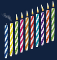 set birthday multicolored candles vector image vector image