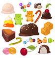 set of top popular sweet desserts for halloween vector image