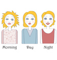 Set of young caucasian woman views vector image