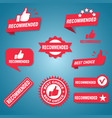 set ten different red recommended labels vector image