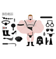 Sex slave BDSM and sextoys set Accessories sadist vector image vector image